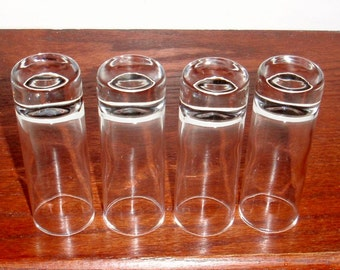 """4 SHOT WHISKEY Liquor Glasses 4"""" Tall Thick Bottomed Round Slim Nice Clear Crystal Glass Four Cordials Set Excellent Condition"""