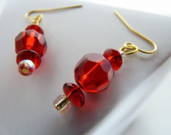 Gold filled ear wires, faceted glass beads, roundel beads, red, and more red, tiny seed beads, dangle earrings