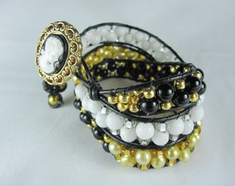 Wrap Bracelet, Wraparound Bracelet, Gold Bracelet, White, Cameo Bracelet