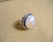 Sterling Silver Mother of Pearl Inlay Artisan Modernist Large Statement Ring