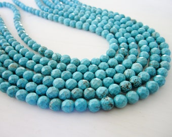 "GB-1170 - Turquoise Magnesite Faceted Round Beads - 6mm Gemstone Beads - 16"" Strand"