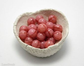 Czech Round Glass Beads 8mm (20) Opaque Pink Coral druk beads.