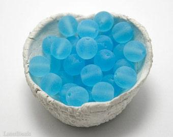Czech Round Glass Beads 8mm (20) Matte Frosted Blue druk beads. Sky Aqua