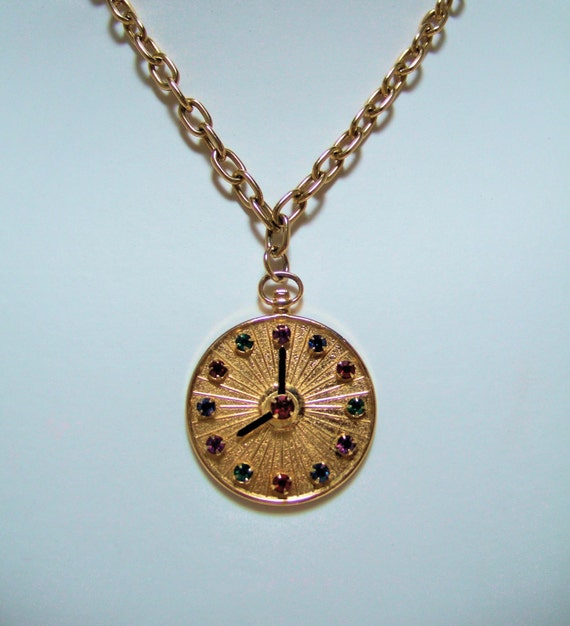 designer vintage emmons clock pendant necklace by
