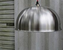 Minimal Modern pendant lighting, stainless steel, re-purposed light silver steel light, minimalist hanging light,