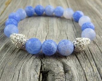 Sky blue agate and rhinestone stackable bracelet, stretch bracelet