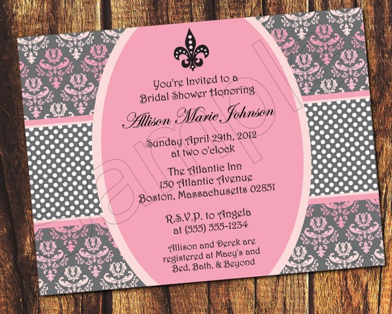 September 2016 crazy invitations part 16 items similar to pink damask birthday bridal or baby shower filmwisefo