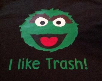 Sesame Street Oscar the Grouch Inspired Black Shirt or Onesie