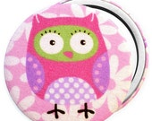 Compact Mirror/ Pocket Mirror/ Handbag Mirror, with cute owl fabric, compact mirror as party bag fillers and birthday gifts