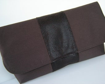Large brown twill and faux suede foldover clutch