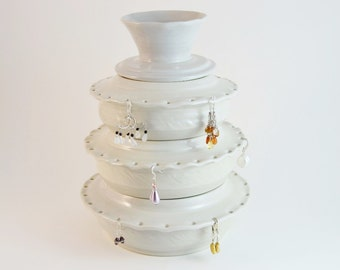 Large Jewelry Organizer, Stoneware Tiered Earring Bowl, Hand Thrown White Jewelry Storage, Ceramic Jewelry Box, Gift for Her, Made to Order