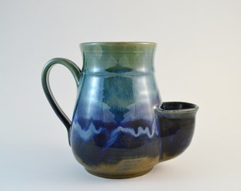 Big 24 oz Green Blue Pocket Mug, Sidekick Mug, Large Stoneware Mug with Tea Bag Pouch, Made to Order