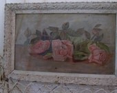 "Vintage Painting Pink Roses Oil on Canvas 13"" x 20"" Antique"