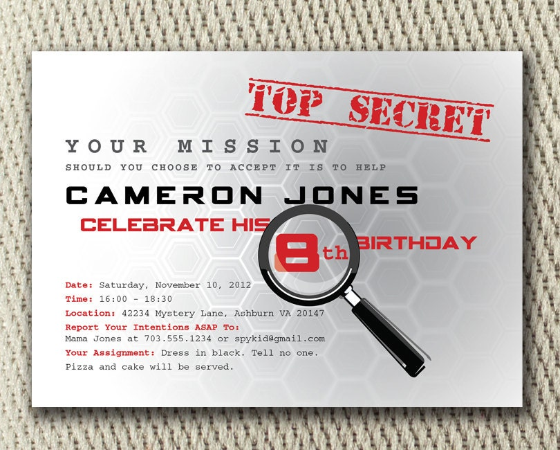 It's just a picture of Old Fashioned Spy Party Invitations Printable Free