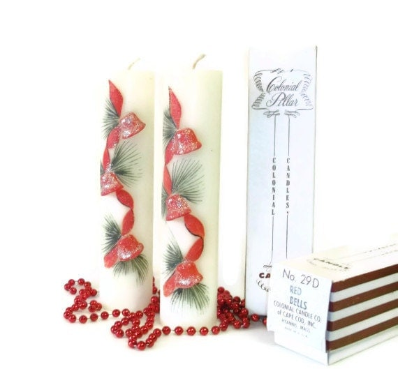 Reduced Vintage Christmas Colonial Red Bells Pillar Candles