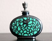 RESERVED JUDY PARKER - Antique Enamel & Silver Overlay Porcelain Crown Top Perfume/Scent Bottle