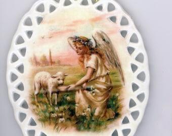 Angel and Lamb Oval Porcelain Ornament