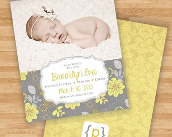 Baby Girl Birth Announcement - Gray and Yellow Floral