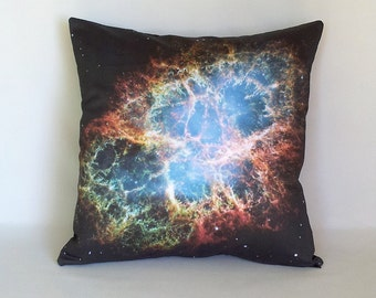 ON SALE: Crab Nebula Galaxy Pillow Cover - NASA Hubble Outer Space Galaxy Photo on Cotton Fabric; blue, black, orange