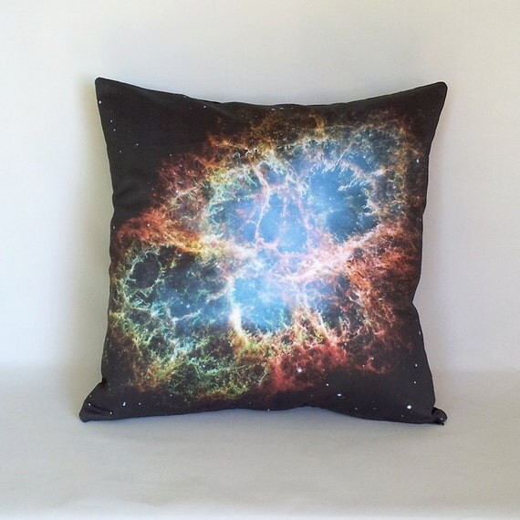 BACK-to-SCHOOL SALE Crab Nebula Galaxy Pillow Cover - Nasa Hubble Outer Space Galaxy Photo on Cotton Fabric; blue, black, orange