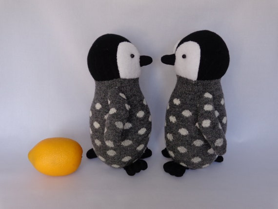 Emperor Penguin Chick Plush Toy, Penguin Stuffed Animal, Penguin Stuffed Doll, Sock Monkey