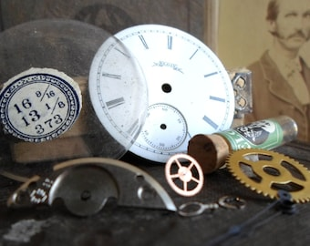 Antique, Pocket Watch Parts, Instant Collection, Porcelain Watch Face, Gears, Crystal, Glass Vial, Hands, Steampunk, Watch, Supplies