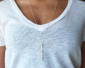 Long Gold Filled Bar Necklace - Gold Needle Necklace - Everyday Necklace - Gold Filled Necklace - Gold Necklace