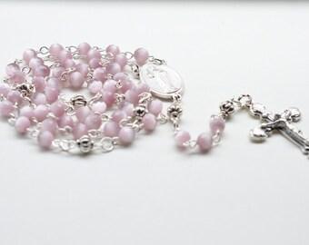 Mauve Pink Catholic Rosary Necklace, Traditional 5 Decade Cat Eye Beads Catholic Rosary - Easter