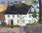 Virginia Woolf - Print - Bloomsbury Group - Monk's House - Naive Art - Writers' Houses - Collage - Cottage - Garden - Gift for Booklovers