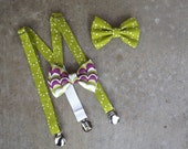 Baby or Toddler Suspender and Bow Tie Set-size 3 month-18 month or 2T-4T-CHOOSE BOW TIE--Apple Green Polka Dot-Purple-Wedding