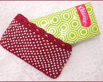 Burgundy Hand Crochet Kleenex Tissue Holder with Pearls NEW