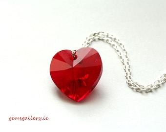 Red Heart, Swarovski  Heart Pendant