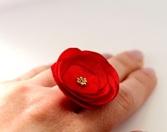 Light Red Ring, Flower Satin Ring, Wedding Ring, Bridesmaid Ring