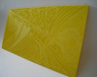 Yellow Hearts Glass Engraving kitchen bathroom artwork home decor
