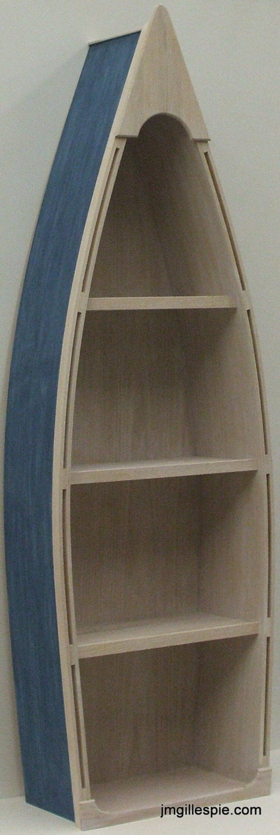 5 Foot Blue Row Boat Bookshelf Bookcase Shelves By