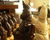 Large Commemorative Royal Beasts chess set  Queens Coronation Edition. Deep Walnut and Sandstone.