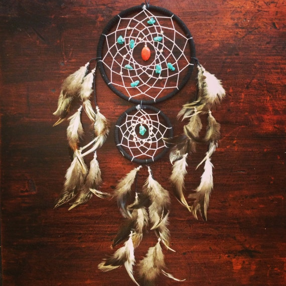 Dream catcher with double ring turquoise and red stones for How to make a double ring dreamcatcher