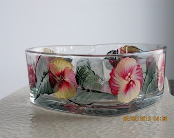 Candy dish with Pansies and green leaves hand painted