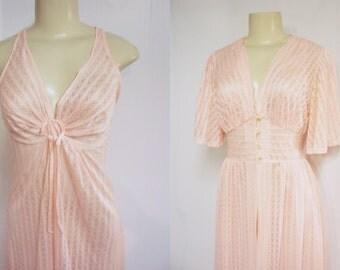 Peach Peignoir Set  - Exquisite -