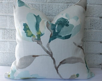 Teal Floral Pillow Cover - Cream, Gray, Yellow-Green, Teal