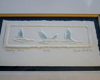 Vintage Art Ducks Geese Birds signed dated by Artist Nora Fisher Wall Hanging art
