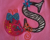 Personalized Initial Bird Tee Shirt/Onesie Infant Toddler or Girls