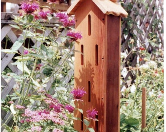 Butterfly House, Garden Accent, oil finished cedar made in USA PVC ground anchor butterfly shelter