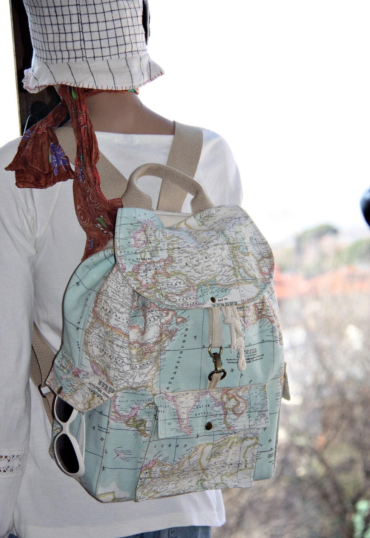 World Map Prints Backpack Atlas Large