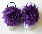 Purple Baby Barefoot Sandals with Shabby Flower (118)