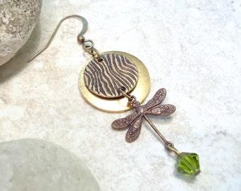 Mossy Green Dragonfly Earrings