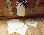 "100 WHITE Medium Size 2-7/8"" Scallop Top Gift Tags, Hang Tags, Sale Tags"