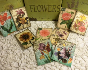 "Flower Tags, 9 Flower Garden Tags, Cards or Stickers (you choose), 3.5"" x 2.5"". Scrapbooks, Gifts, Journals, Crafts, SHIPS FOR FREE"