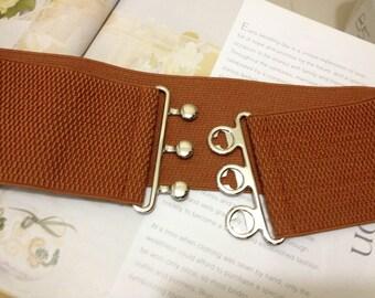 Brown Wide Belt, Stretch Belt, Elastic Stretch Cinch Belt, Plus size belt, Oversize Plus size available, Custom Made Belt No. B018