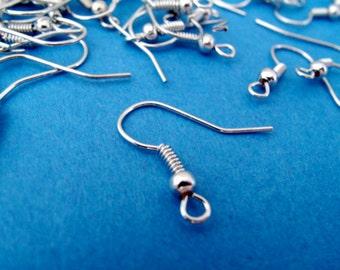 100 pcs 18mm antique silver earring hooks, Nickel Free